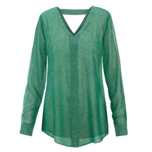 CAbi Bountiful Blouse green with navy print